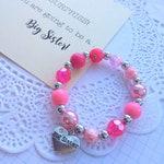 Big Sister bracelet, big sister announcement, kids bracelet, sister accessories, sister announcement, pink bracelet.
