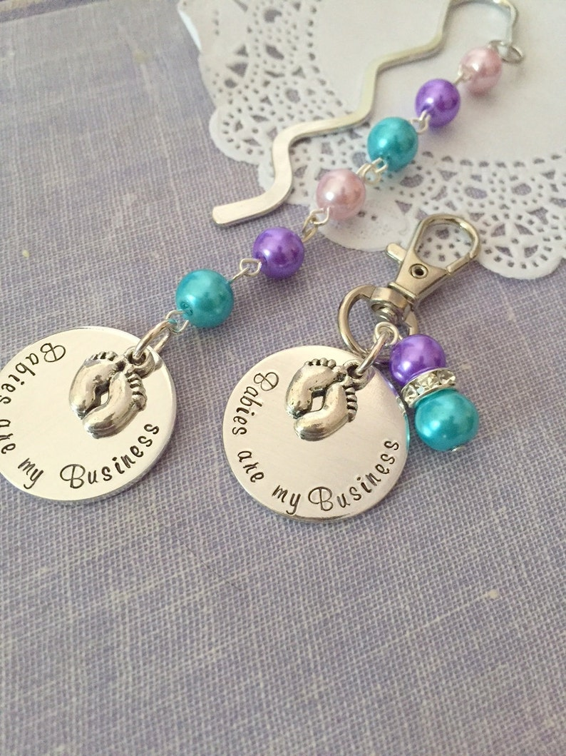 Midwife Doula Obstetrician gift. SET of TWO Zipper pull image 0