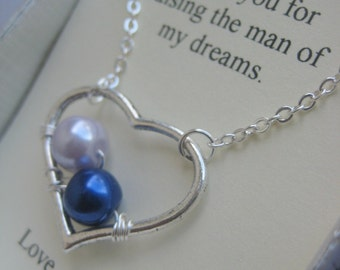 Mom, mother, wirewrapped birthmonth heart necklace. Comes with FREE choice of wording, notecard, jewelry box.