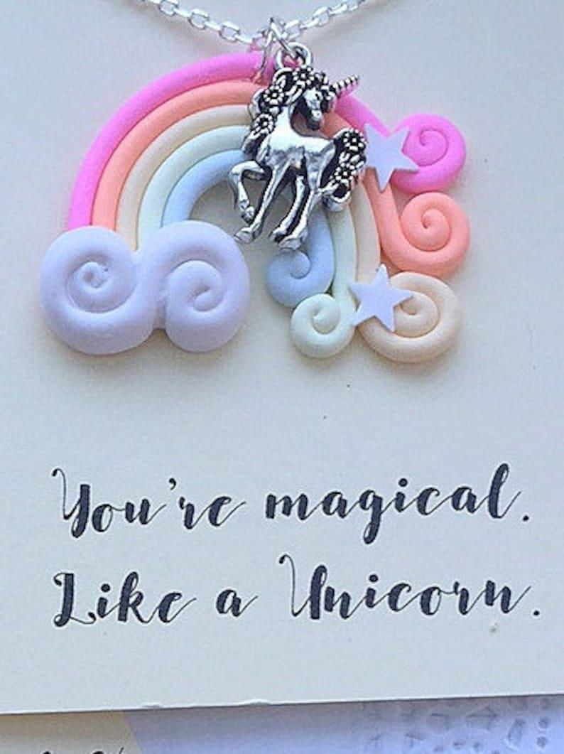 Unicorn necklace Unicorn gift Unicorn jewelry pastel image 0