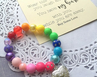 Back to School bracelet, rainbow bracelet, locket bracelet, school bracelet, locket jewelry, comes with FREE card.