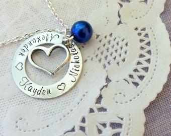 Personalized, mommy, mom, mother, grandma, grandmother, children, grandchildren names, handstamped birthstone necklace.