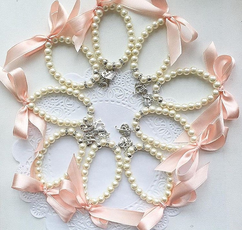 Ribbon pearl bracelet stretchy pearl bracelet Flower girl image 0