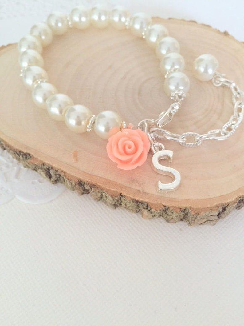 Child bracelet adjustable bracelet ivory pearl flower girl image 0