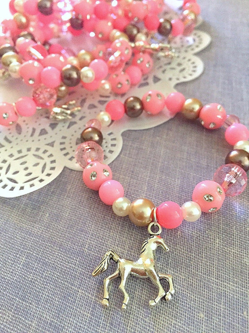 Horse party favor pink brown beaded bracelet kids jewelry image 0