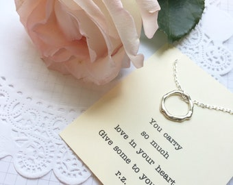 Circle necklace, simplistic necklace, simple necklace, infinity necklace, FREE necklace card.klace. Comes with FREE card and Jewelry Box.