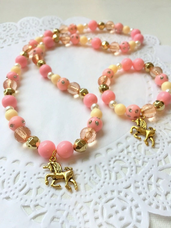 Unicorn Jewelry Bracelet Necklace Kids Pink Gold