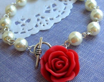 Ivory glass pearl red rose bracelet. Other pearl, rose colours available.