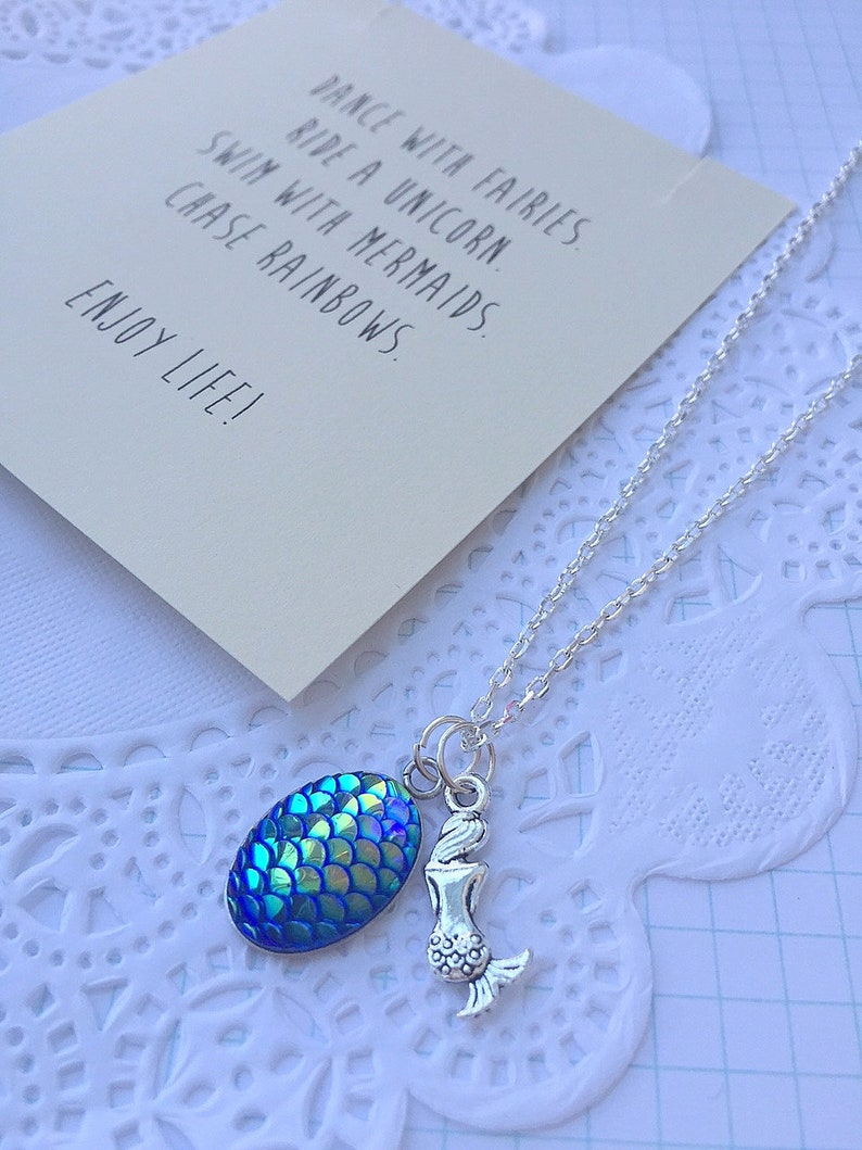 SET of FIVE Blue Mermaid charm necklace mermaid party favor image 0
