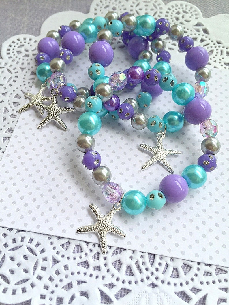 SET of TEN. Starfish bracelet Mermaid party jewelry favor image 0
