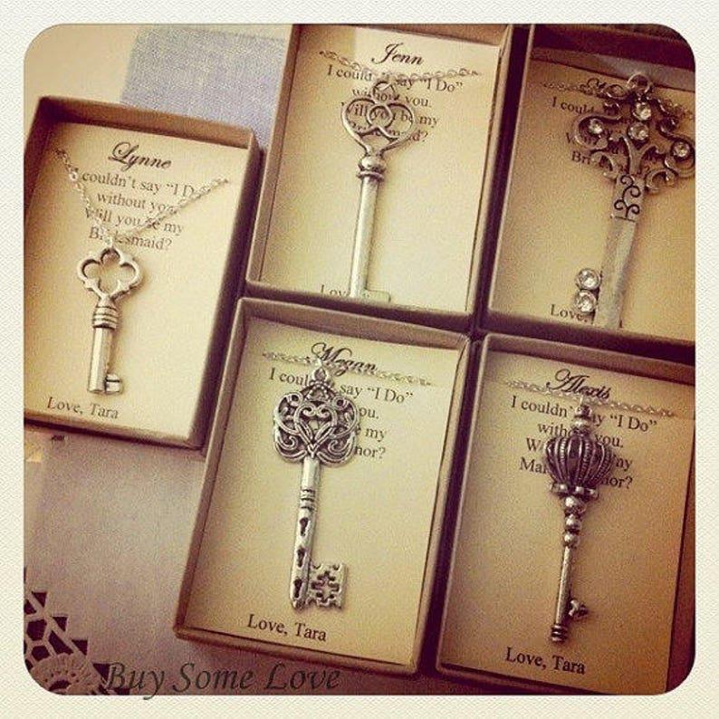 Skeleton Key necklace key gift bridesmaid key jewelry. image 0