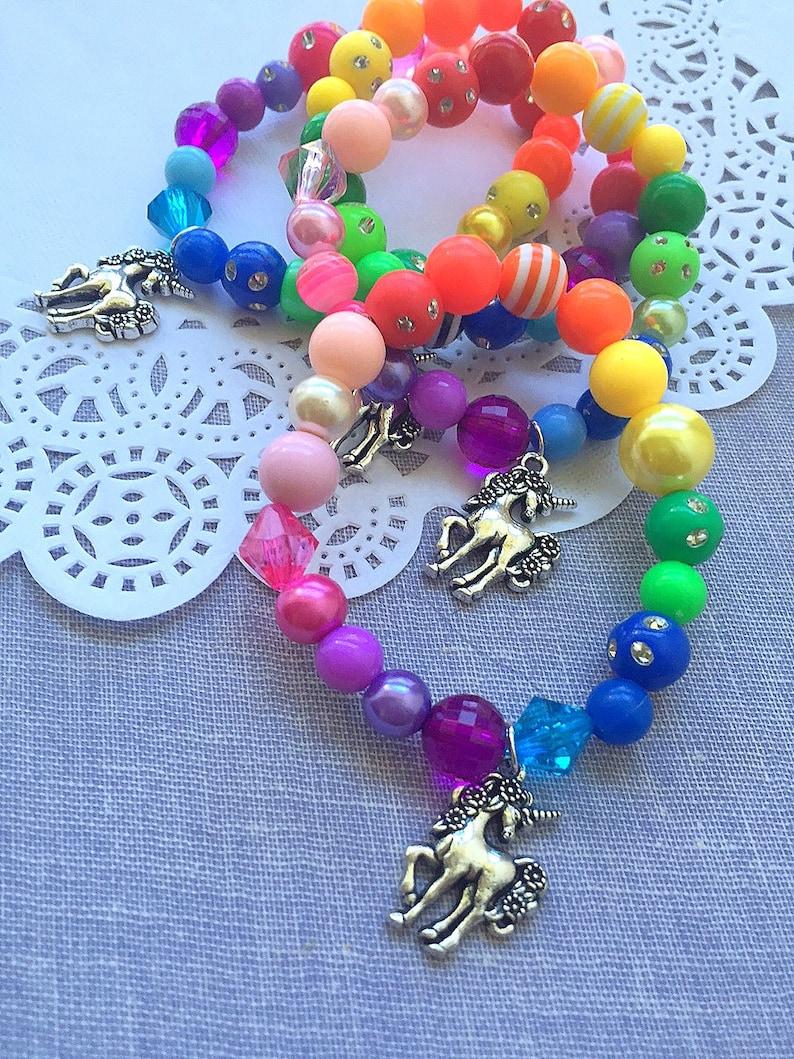 Silver Unicorn bracelet rainbow jewelry MISMATCHED rainbow image 0