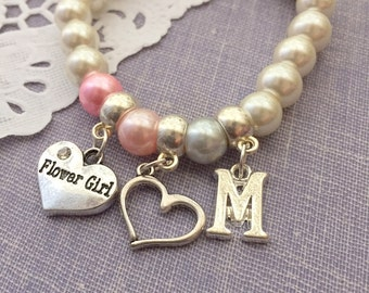 Flower girl, flowergirl, stretchy, bracelet, initial, customized. CHILD sized. Blush pink, silver, heart.