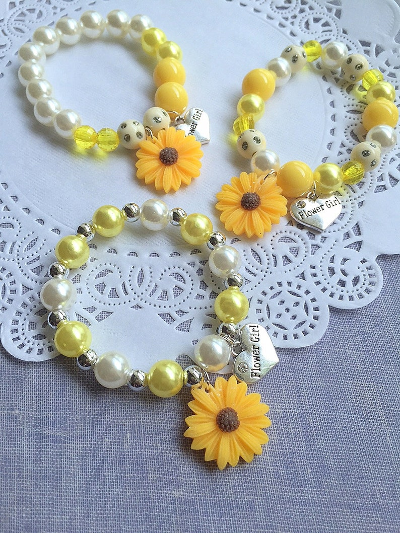 Sunflower bracelet sunflower jewelry Flower girl bracelet image 0