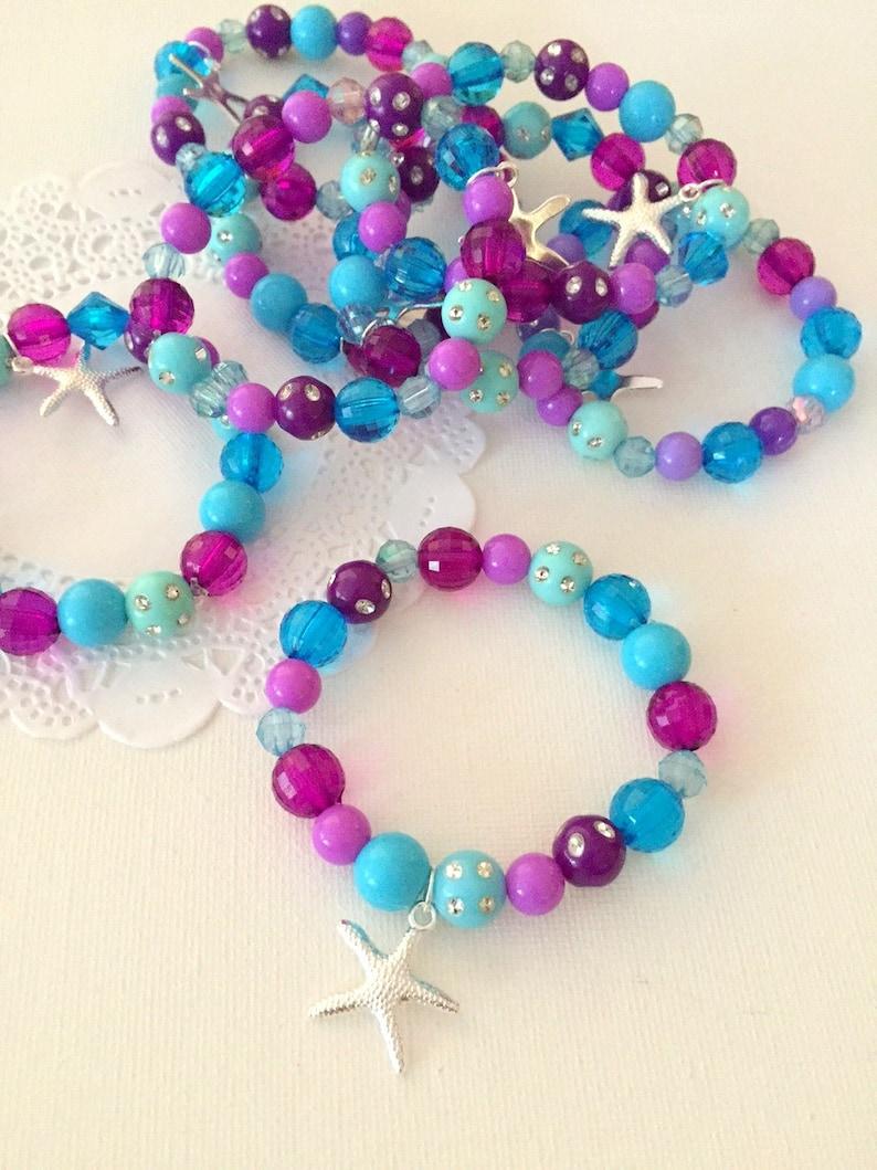 Mermaid party favor starfish kids jewelry bracelet. Set of image 0