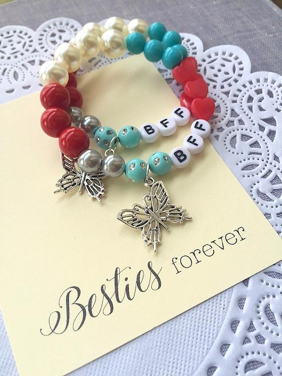 BFF gift twin bracelet kids bracelet set mother daughter gift set two tone heart bracelets Best friend friendship bracelet set of two