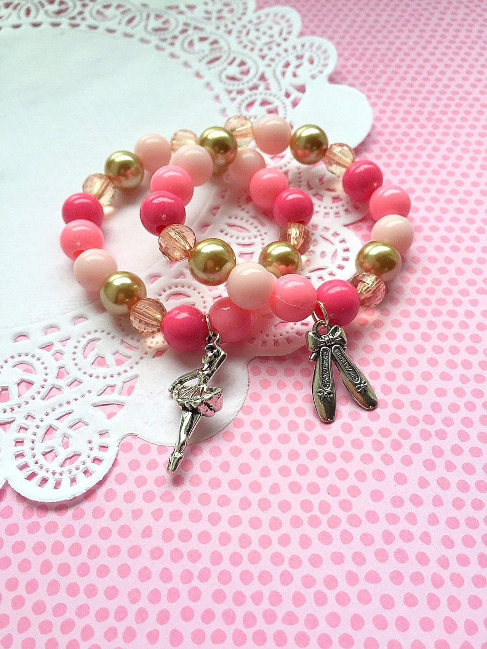 ballet shoes, pink and gold, ballet party, ballerina jewelry, dance birthday party, party favor bracelet, set of ten.
