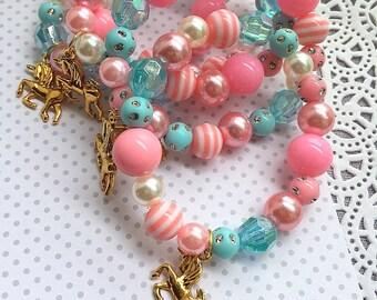 Unicorn birthday party favor, kids bracelet, kids jewelry, jewelry favor, SET of TEN.