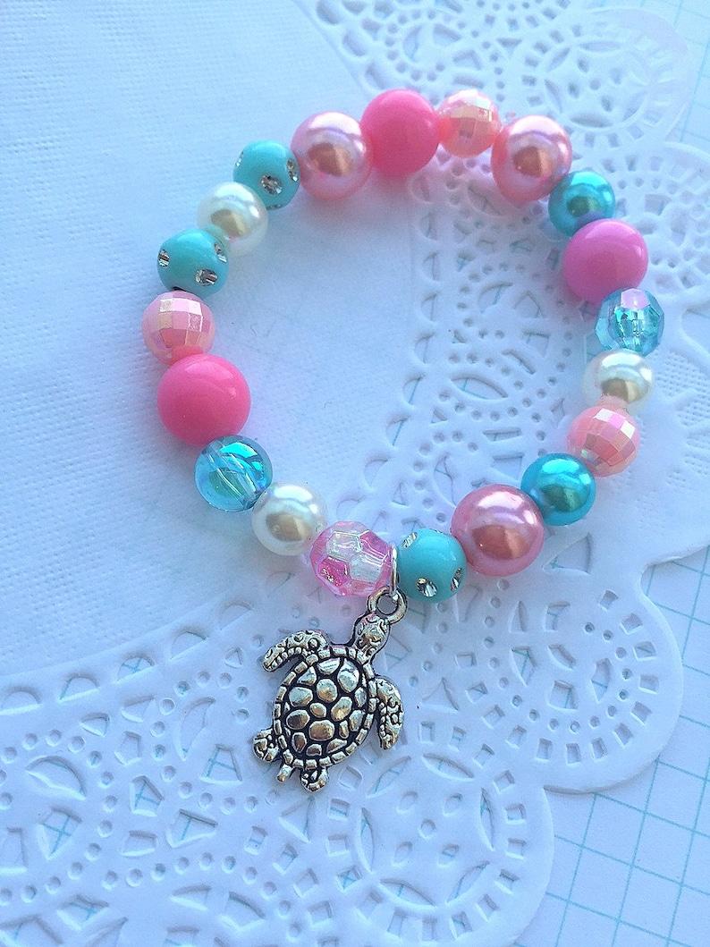 Turtle bracelet favor Turtle jewelry beaded bracelet party image 0