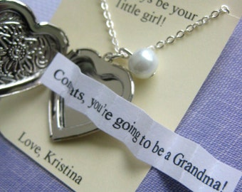 Pregnancy announcement, Grandmother, locket necklace, secret announcement. FREE personalized notecard, jewelry box.