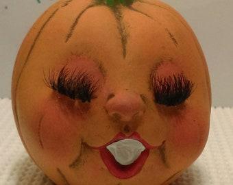Amber the pum kid Orange real fake lashes blushing beauty pumpkin face