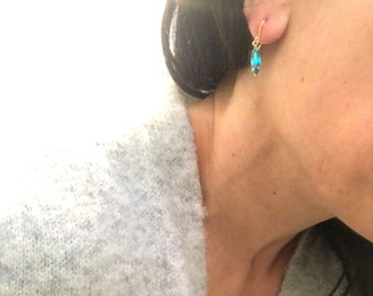 Skinny teal earrings green emerald earrings Small emerald earrings Vintage blue green petite glass Sparkle teal dangles 14k Gold fill wire