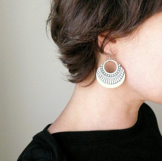 5X Antique Silver Boho Tribal Flower Moon Charm Pendant Earring Findings 34mm