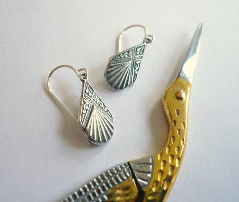 Art deco earrings small silver bridal earrings 1920s style image 0