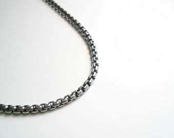 Boyfriend gift Chunky silver chain Necklace chain Gift for him Heavy necklace Sterling silver necklace Thick chain Box chain Sterling chain