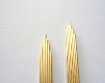 Long gold earrings Art deco earrings Long earrings NYC Chrysler building 1920s earrings Art deco dangles Gold fill earwire Great Gatsby Gift