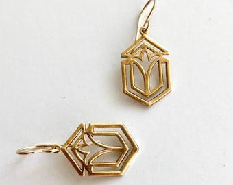 Frank Lloyd Wright gold architecture earrings, Art deco gold earrings, handmade Geometric gold dangles, 1920s jewelry gift for architect
