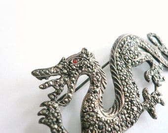 Dragon pin Game of Thrones gift Vintage marcasite pin Sterling Silver dragon brooch 925 stamp Marcasite brooch Vintage brooch Fantasy lover