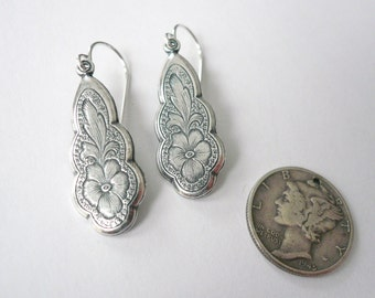 Flower silver drops Floral silver earrings Romantic earrings 1920s earrings Edwardian drops Art Nouveau silver dangles Sterling silver wires