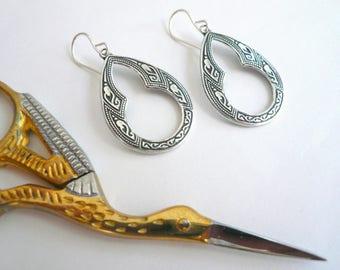 Keyhole earrings Art deco window dangles Silver teardrop hoops Everyday antiqued silver dangle earrings Delicate hoops Little silver hoops