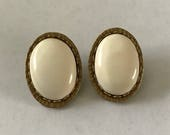 Marjorie Baer Bronze White Stone Clip On Earrings San Francisco 1991