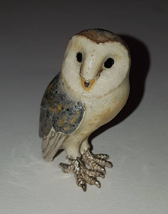 Saturno Sterling Silver Hand Enameled Barn Owl Figurine