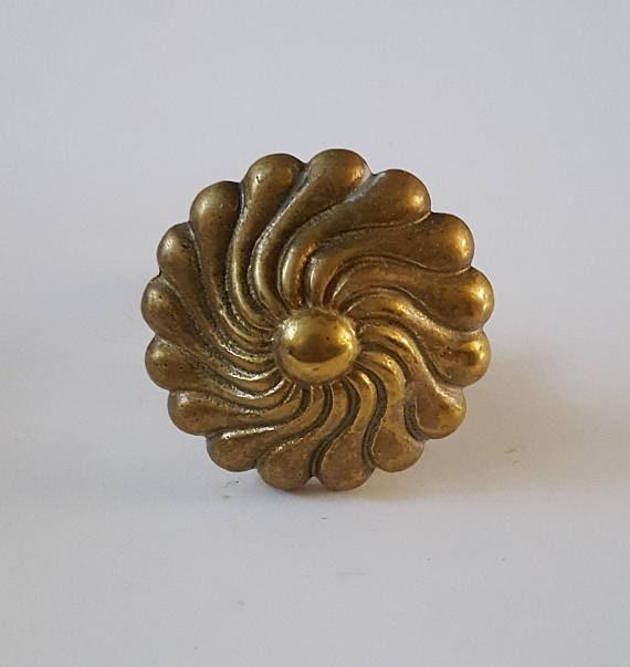 Great Brass Drawer Knobs Mid Century Round Solid Brass Spiral   Etsy