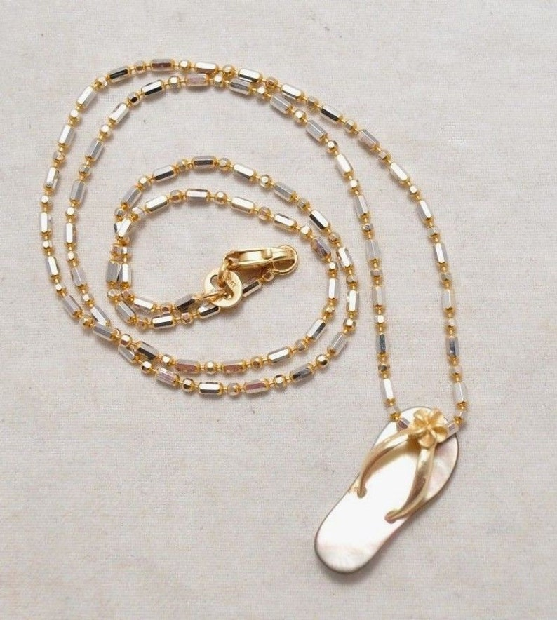 14k Yellow and White Gold Plumeria Hawaiian Slipper Pendant Necklace