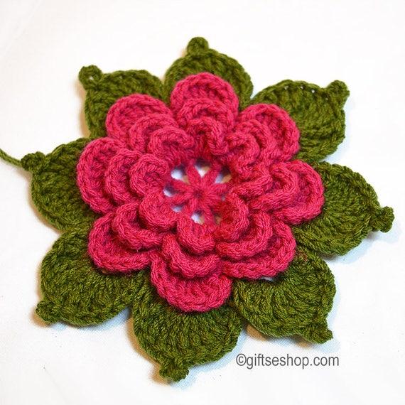 Häkelanleitung Blume mit Blättern no86 | Etsy
