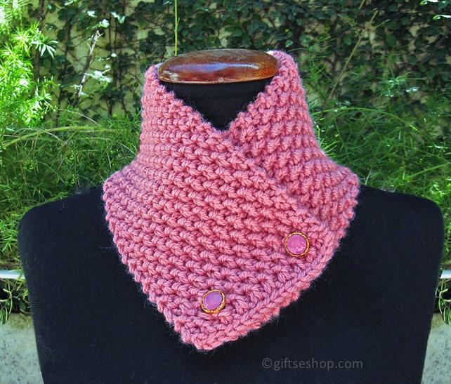 Patrón de bufanda capucha patrón tejer bufanda de botón   Etsy
