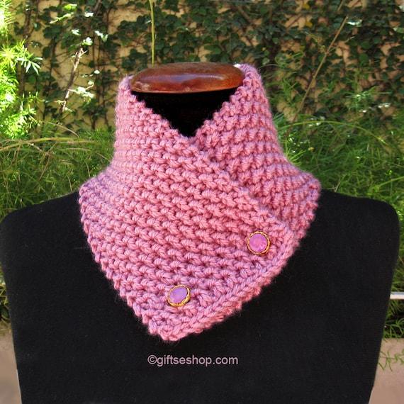 Patrón de bufanda capucha patrón tejer bufanda de botón