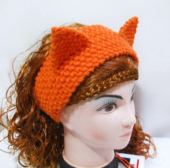Fox Headband Ear Warmer Knitting Pattern Cat Ears Headband