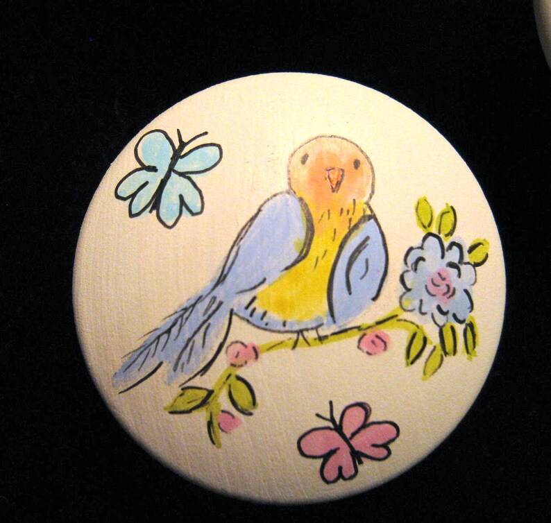 Set of 5 Sweet Pastel Bird Knobs Hand Painted