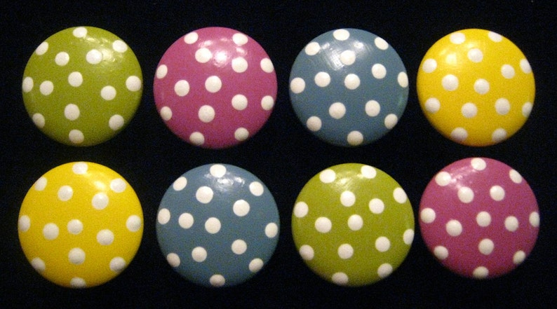 READY To SHIP Wooden Knobs Polka Dots Set of 8
