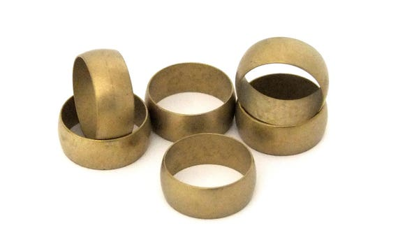 """Raw Brass Ring Blanks 3//8/""""  Wide Size 8 With Channel  Pkg Of 6"""
