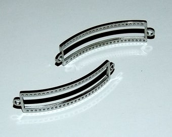 Centerline Bright Rhodium Plated Link Findings With Round Tabs Pkg Of 2