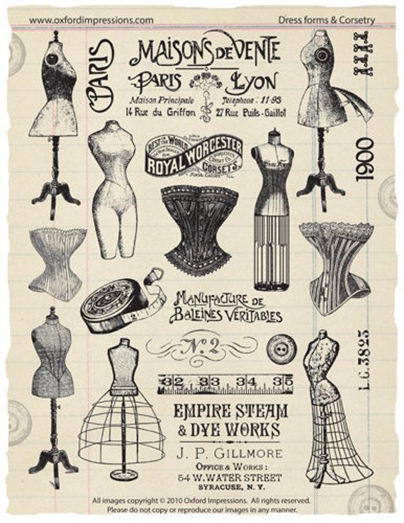 Deep Red Rubber Cling Stamp Victorian Corset Under Garment