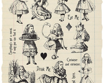 Illustrated Alice - Alice in Wonderland rubber stamp collection
