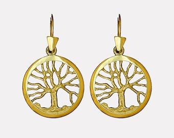14k gold Tree of Life earrings on ear wire, Gold Joshua tree of life earrings, Gold Kabbalah Tree of life earrings, Small Gold tree earrings
