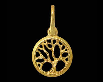 Dainty 14k gold small Tree of Life charm, Gold Joshua tree of life necklace, Gold Kabbalah Tree of life charm, 14k gold tree of knowledge,